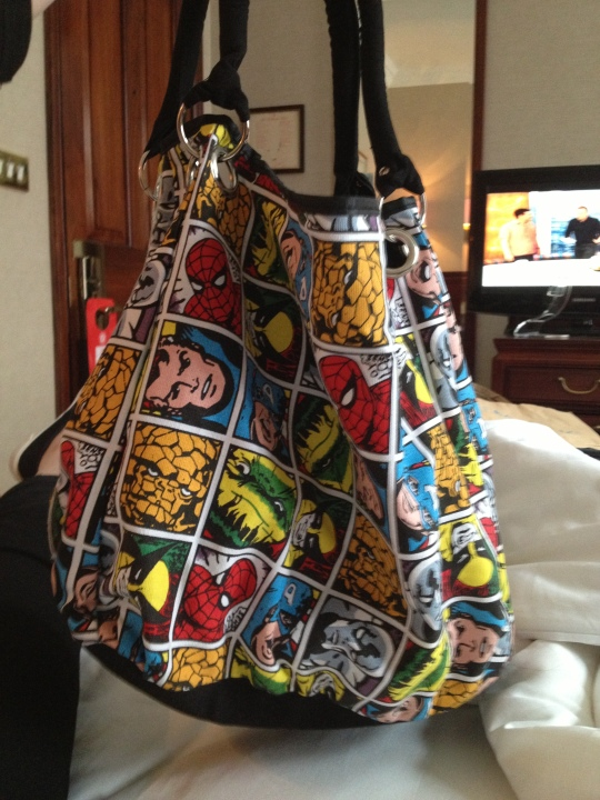 This is my new handbag. It's the best handbag in the world, don't you think? Purchased at Camden Lock Market, from a man who didn't know who Spiderman was! Seriously! One of the best things about the market is the opportunity to haggle - this bag was only £10 and worth every penny.